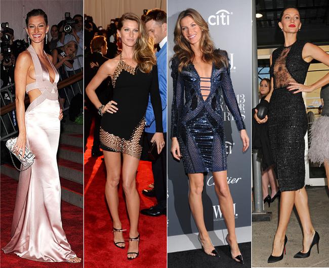Na ordem, Gisele em modelos Versace, Anthony Vaccarello. Versace novamente e Emanuel Ungaro