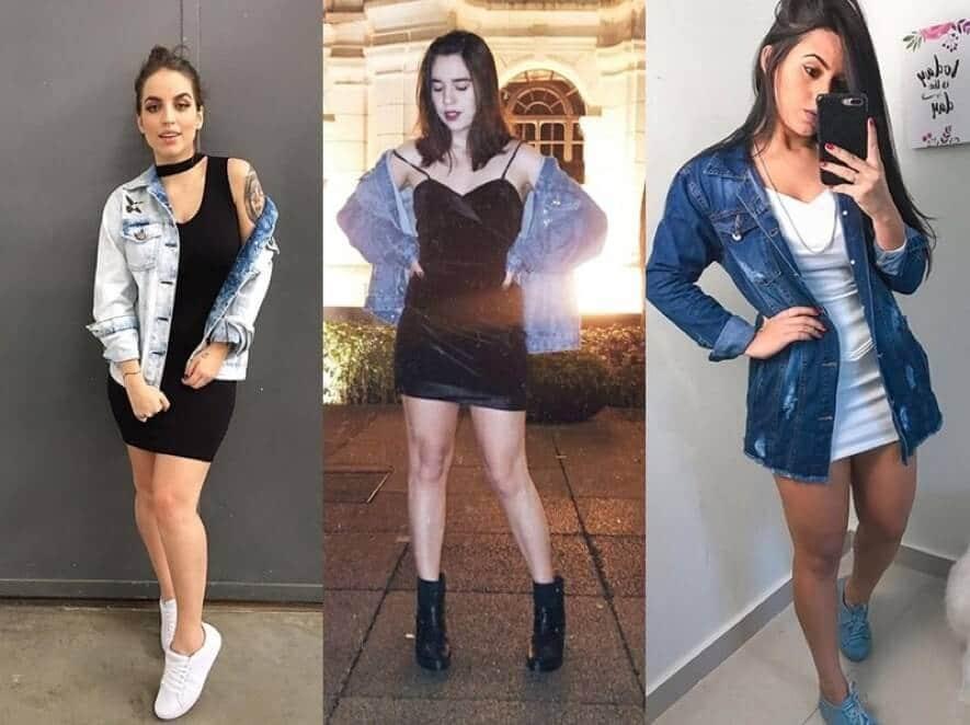 como usar jaqueta jeans e vestido