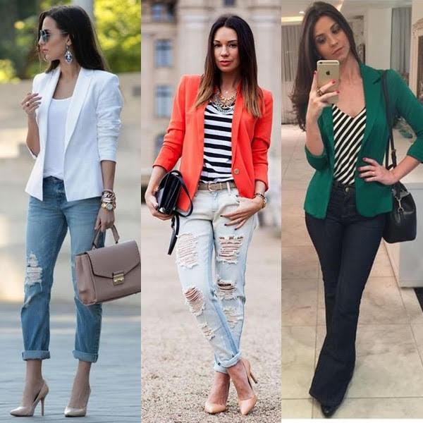 Blazer com calça jeans