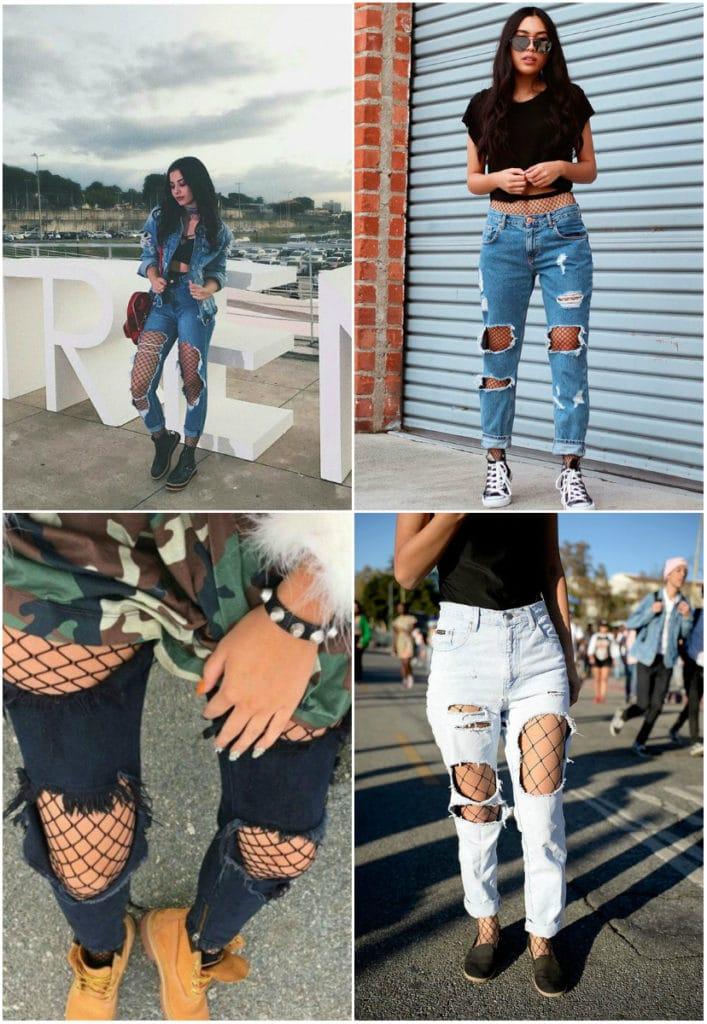 Meia Arrastão com Calça Jeans