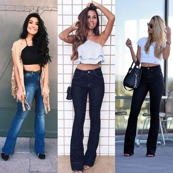 Cropped com calça jeans