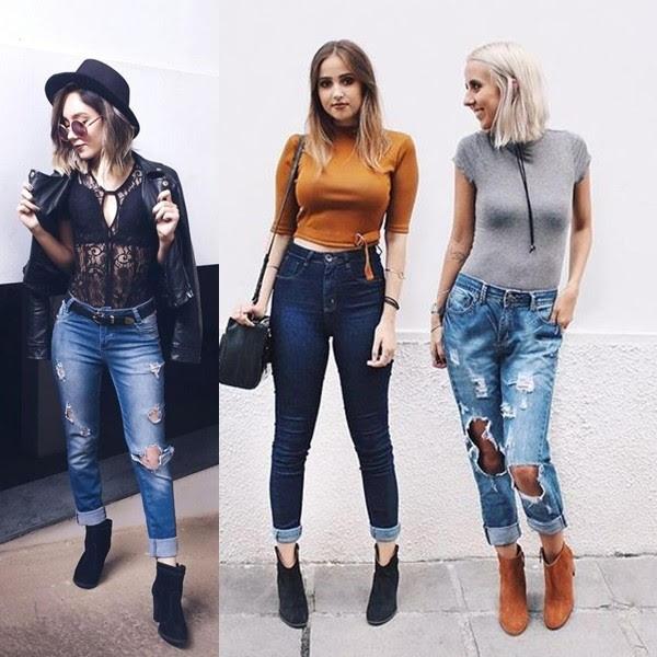 Bota cano curto com calça jeans