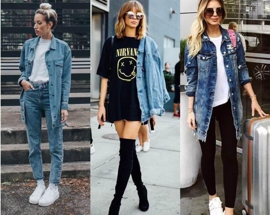 looks com Jaqueta Jeans Comprida