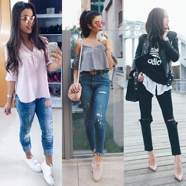 Calça jeans rasgadinha (rasgada)