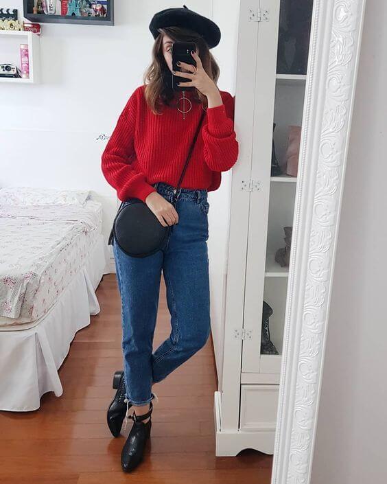 Look tumblr de inverno com blusa vermelha