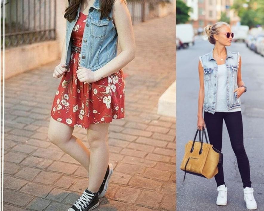 Colete jeans na primavera