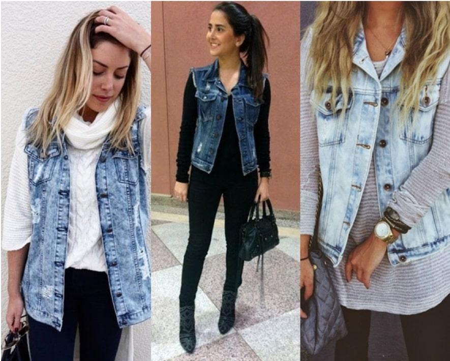 Colete jeans no inverno