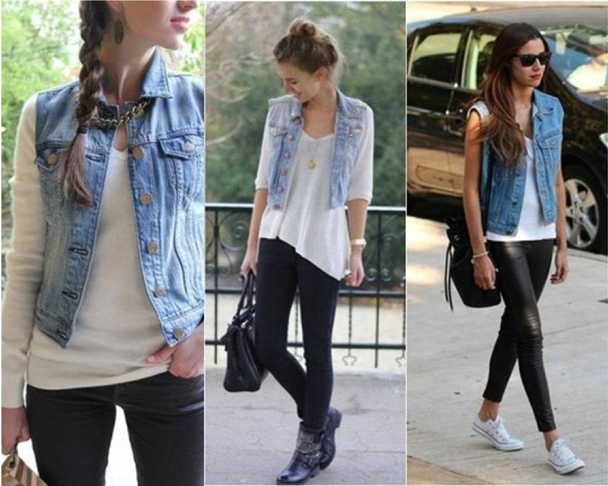 Colete jeans no outono