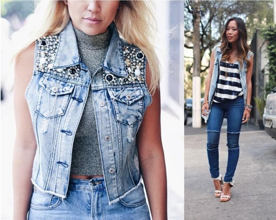 Como usar colete jeans com calça jeans