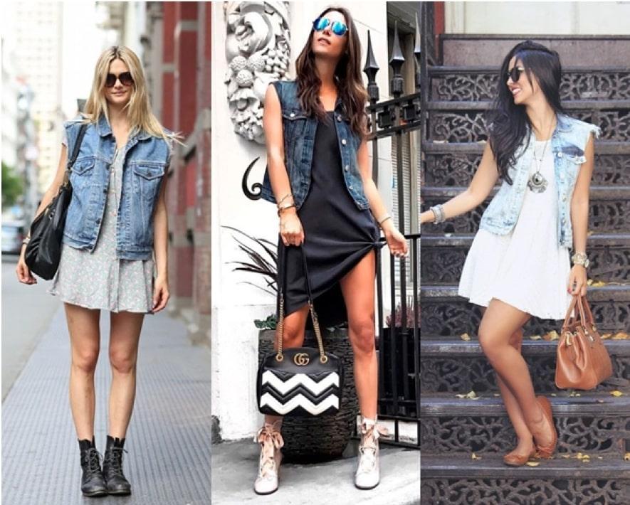 Como usar colete jeans com vestido