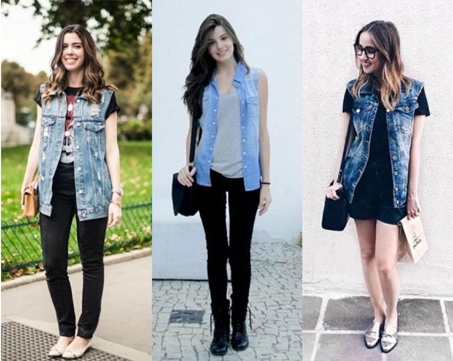 Como usar colete jeans comprido