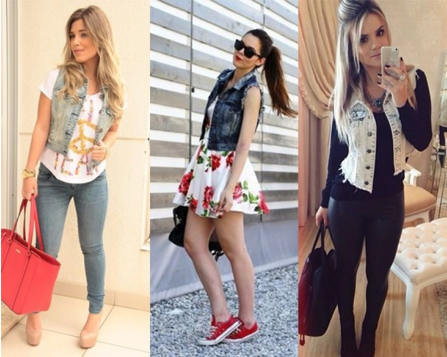 Como usar colete jeans curto