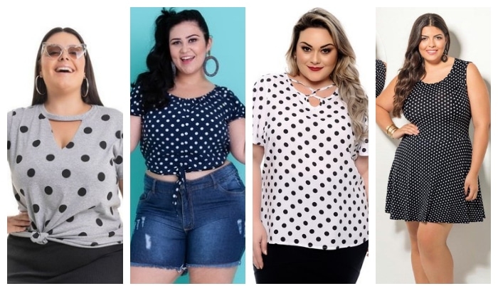 poá estampa looks plus size