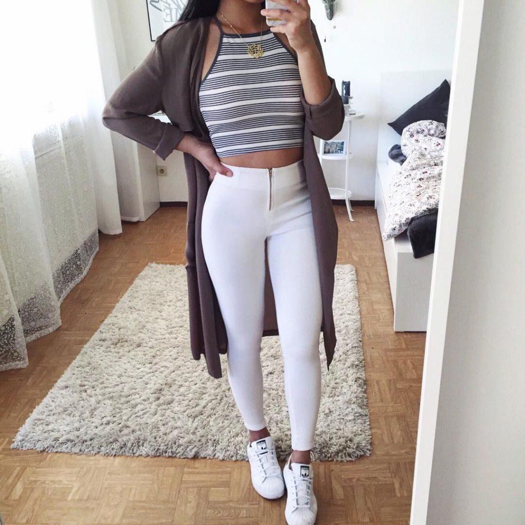 looks com calça branca casual