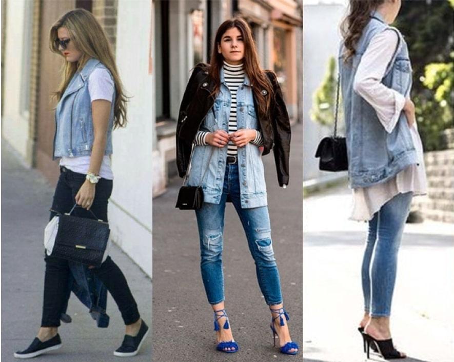 Looks com colete jeans com calça jeans