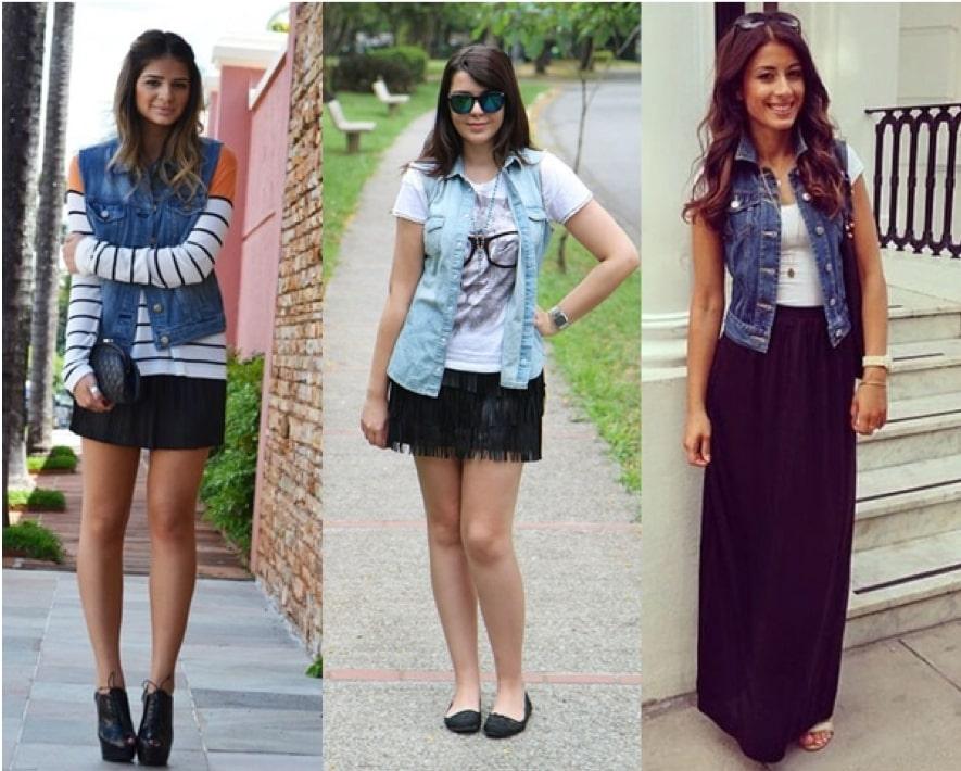 Looks com colete jeans com saia