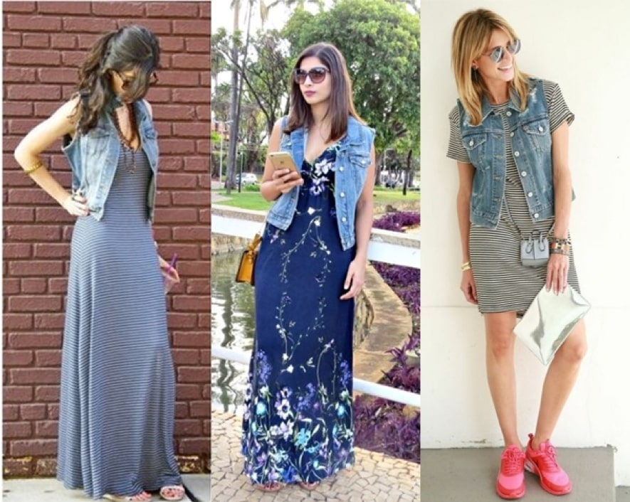 Looks com colete jeans com vestido