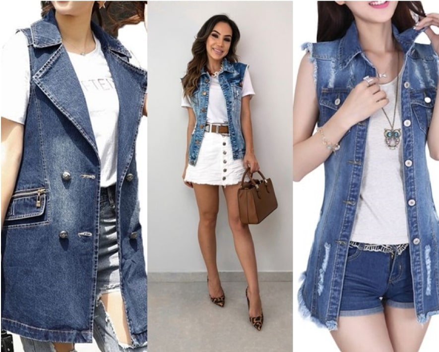 Looks com colete jeans comprido