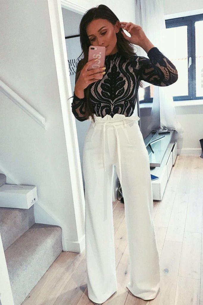 looks com calça branca noite