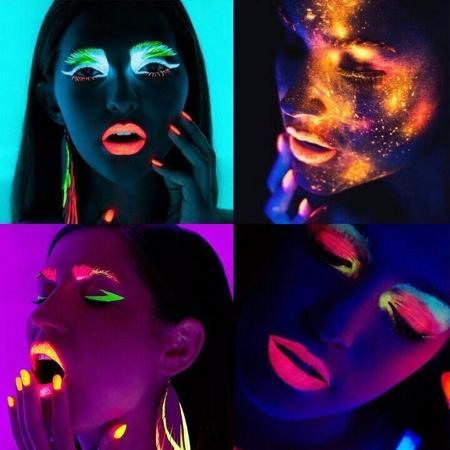 maquiagem que brilha no escuro
