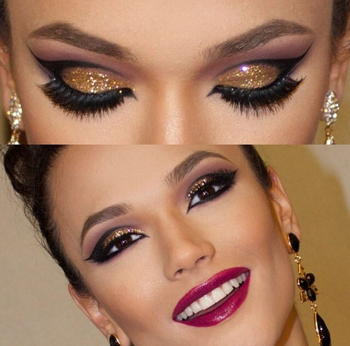 maquiagem com glitter dourado olhos