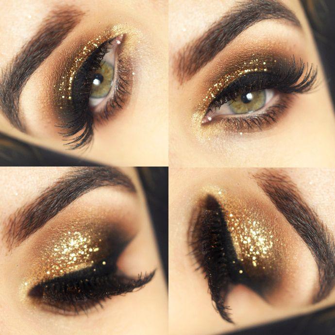 maquiagem com glitter dourado sombra