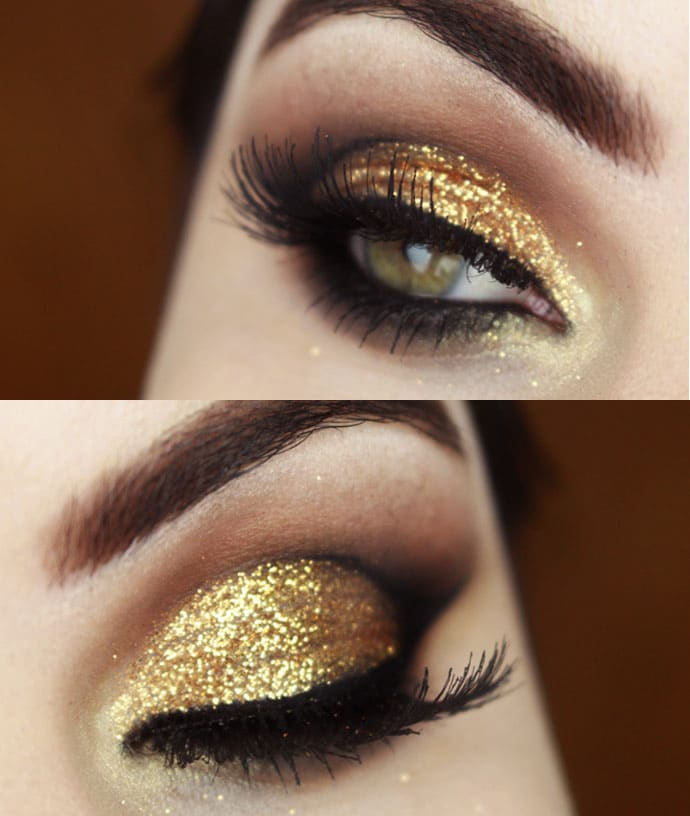 maquiagem com glitter dourado bruna tavares