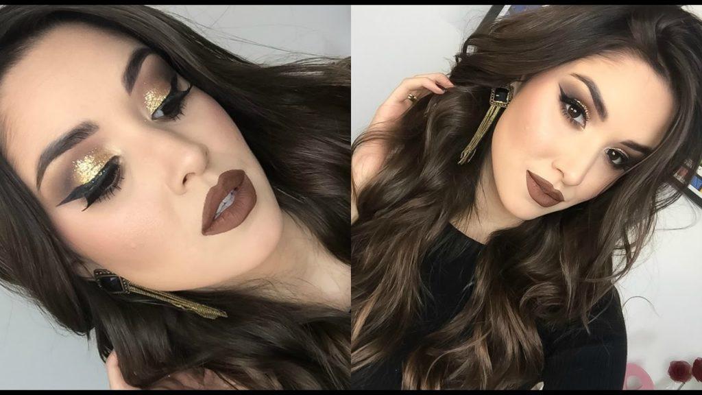 maquiagem de festa com glitter dourado