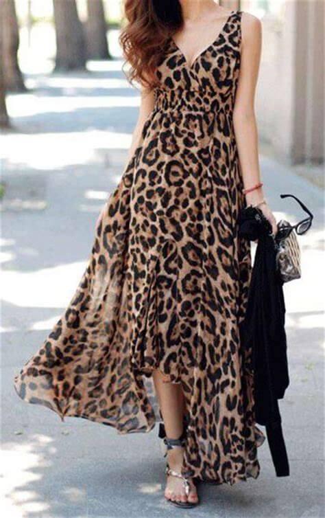modelos de vestidos longo estampado animal print