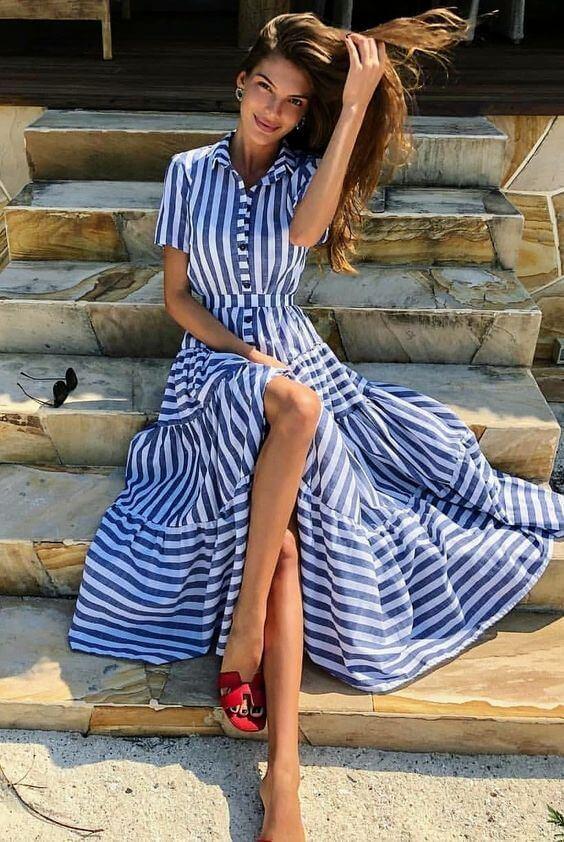Vestido longo rodado