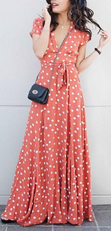 modelos de vestidos longo estampado bolinha