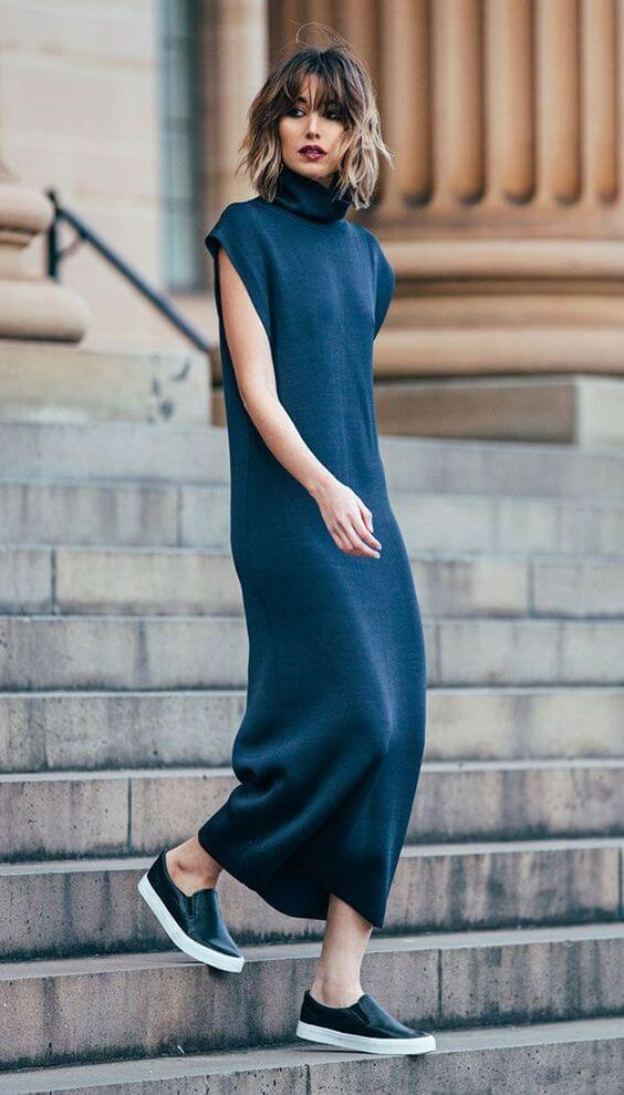 modelo de Vestido longo: gola alta