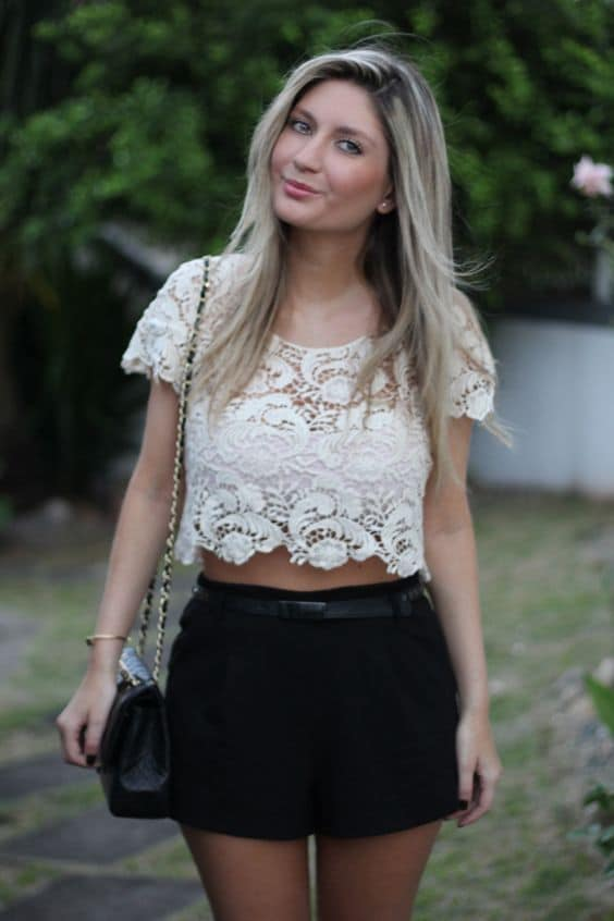 Looks com Cropped Renda branca