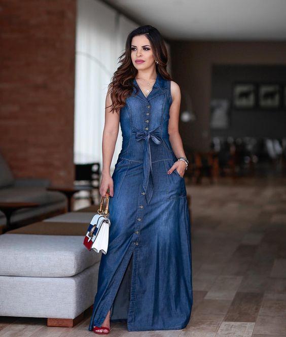 Modelos De Vestidos Jeans 60 Looks Para Você Se Inspirar Em