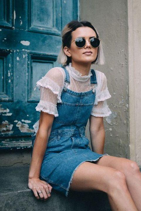 Modelos de vestidos jeans jardineira