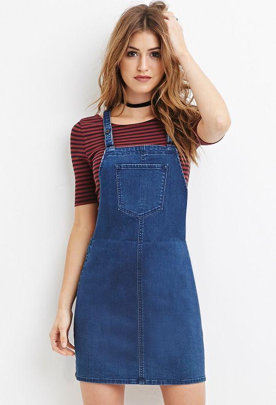 Modelos de vestidos jeans jardineira curto