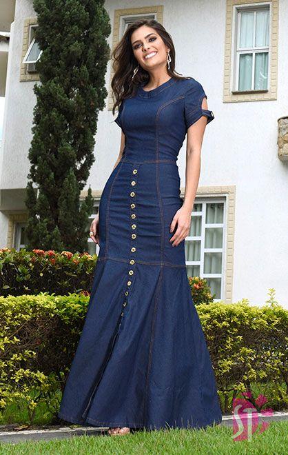 Modelo de vestido jeans longo