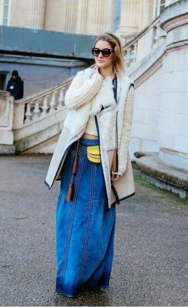 looks com saia longa jeans