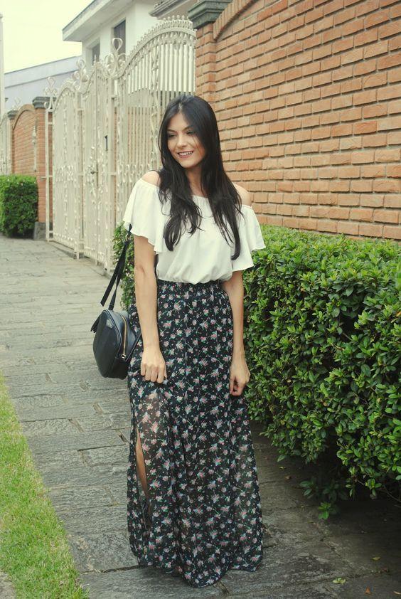Look Saia Longa com Fenda