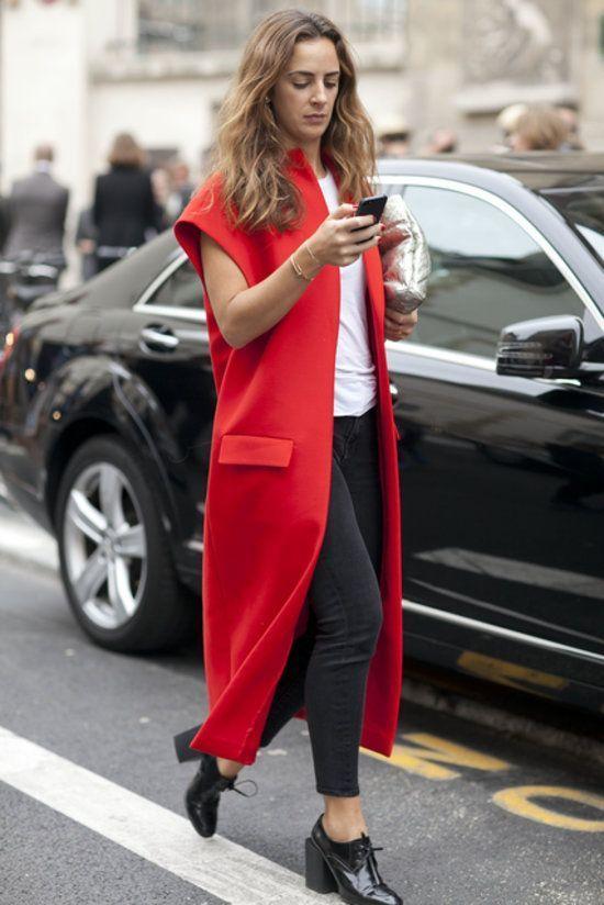 look com colete vermelho