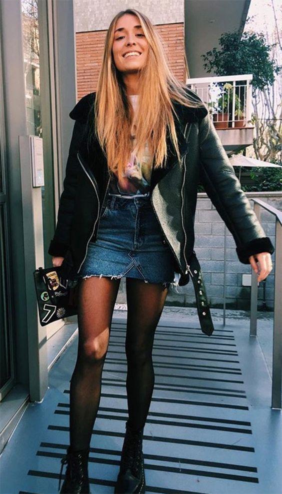 Looks com Saia Jeans e jaqueta de couro