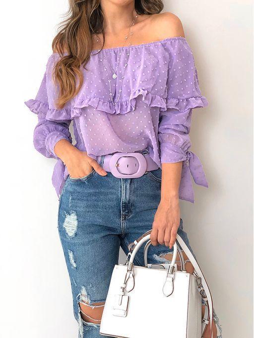 modelo de blusa ombro a ombro renda