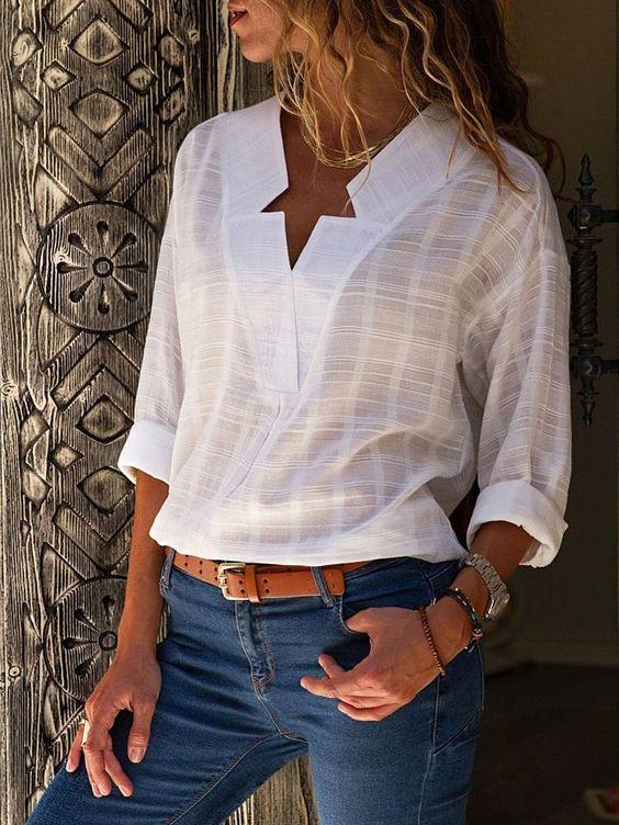 modelos de blusa de linho