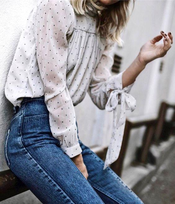 modelos de blusa de bolinha e manga longa