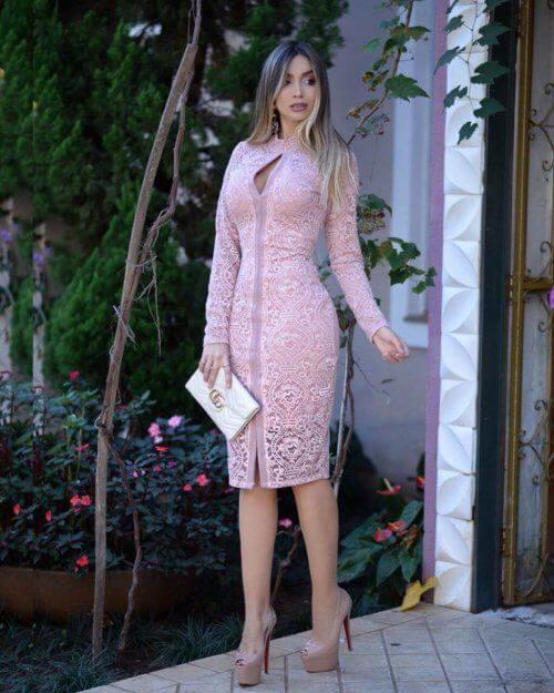 vestido tubinho de renda