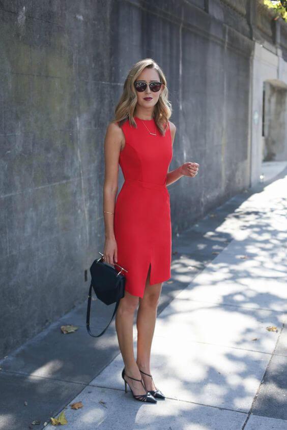 modelo de vestido tubinho vermelho