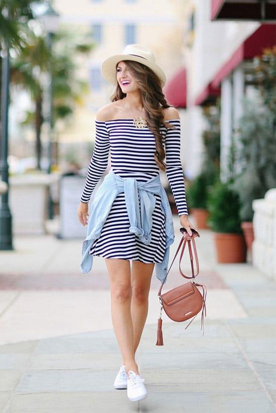 looks com tenis branco e vestido