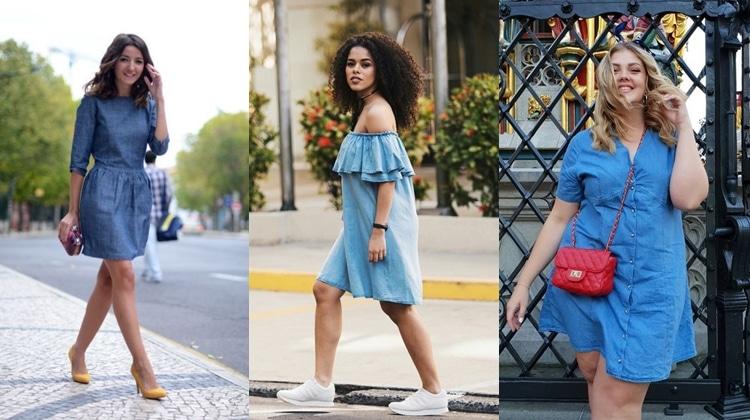 3405c50e9f0 Modelos de Vestidos Jeans  60 Looks Para Você se Inspirar em 2019