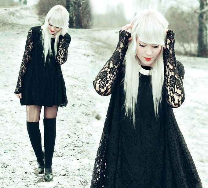 Modelo de Vestido de Renda curto preto