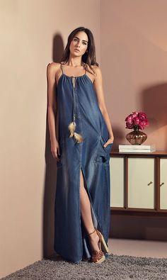 modelo de vestido longo estampado